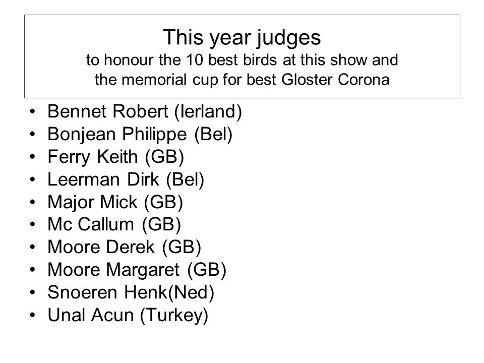 This year judges to honour the 10 best birds at this show and the memorial cup for best Gloster Corona •Bennet Robert (Ierland) •Bonjean Philippe (Bel