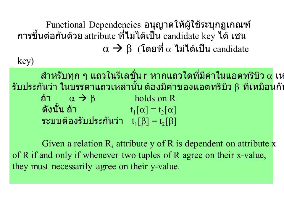 Functional Dependencies อนุญาตให้ผู้ใช้ระบุกฏเกณฑ์ การขึ้นต่อกันด้วย attribute ที่ไม่ได้เป็น candidate key ได้ เช่น    ( โดยที่  ไม่ได้เป็น candid