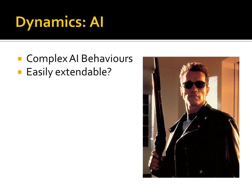  Complex AI Behaviours  Easily extendable?