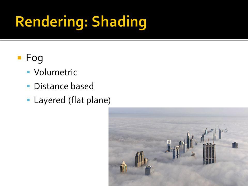  Fog  Volumetric  Distance based  Layered (flat plane)