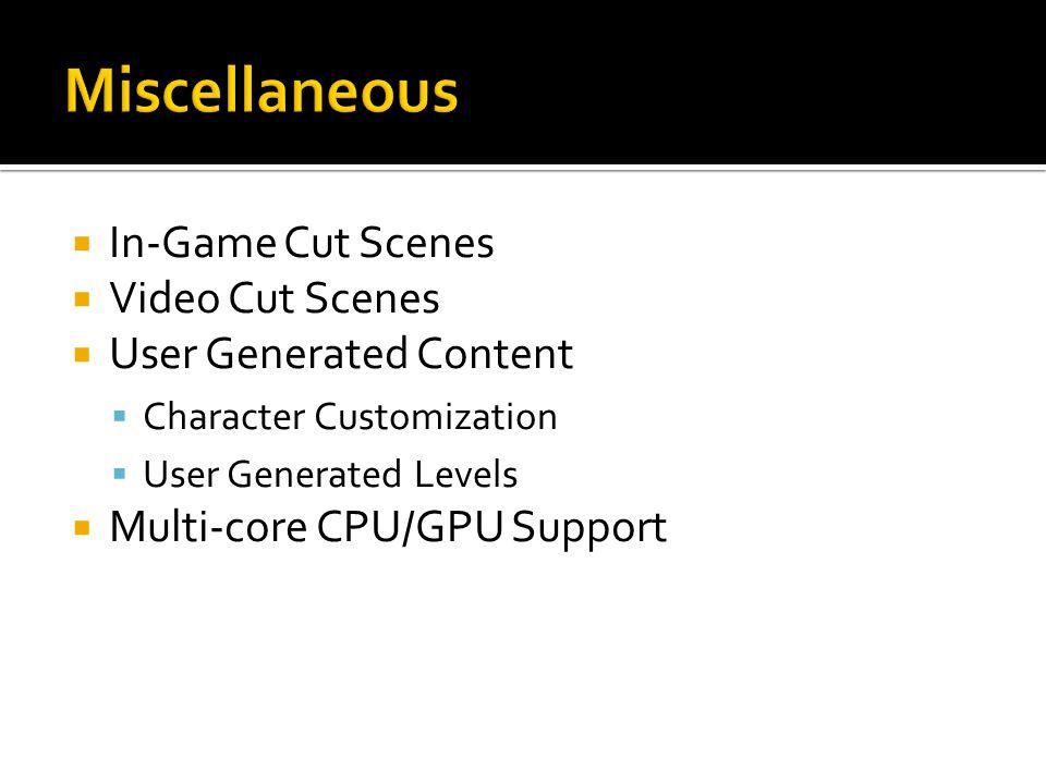  In-Game Cut Scenes  Video Cut Scenes  User Generated Content  Character Customization  User Generated Levels  Multi-core CPU/GPU Support