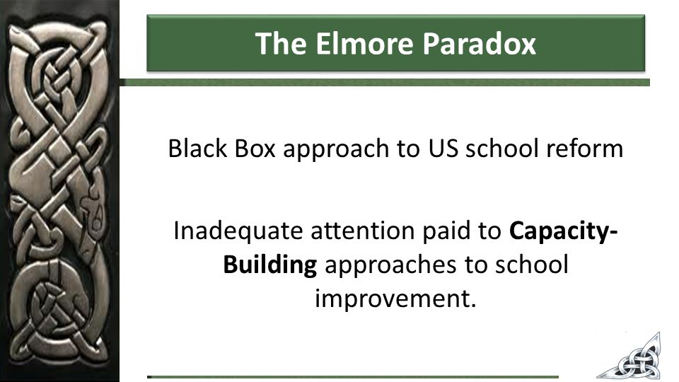 The Elmore Paradox Black Box approach to US school reform Inadequate attention paid to Capacity- Building approaches to school improvement.