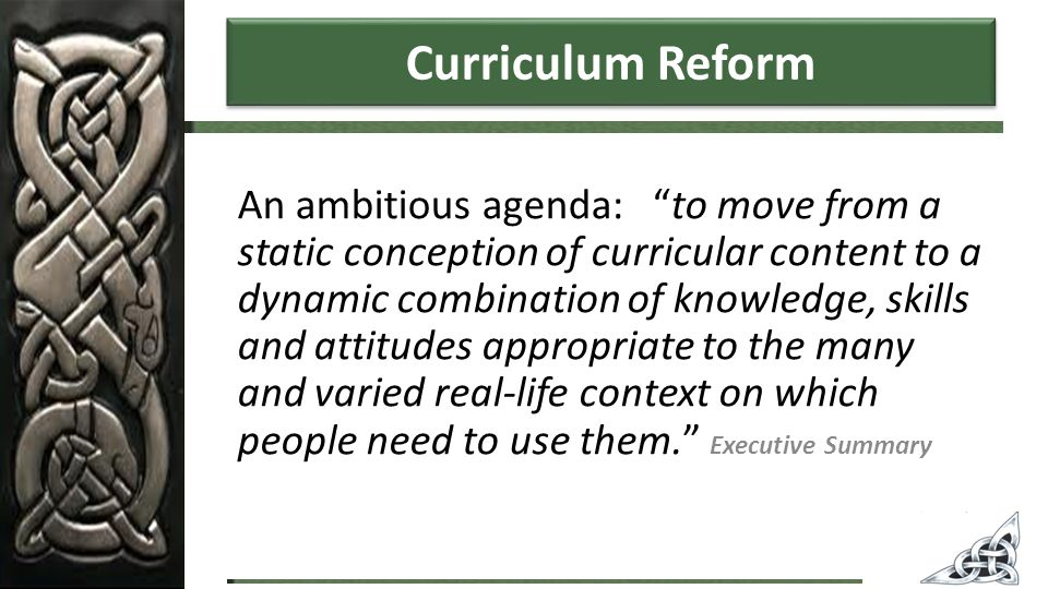 Curriculum Reform An ambitious agenda: to move from a static conception of curricular content to a dynamic combination of knowledge, skills and attitudes appropriate to the many and varied real-life context on which people need to use them. Executive Summary