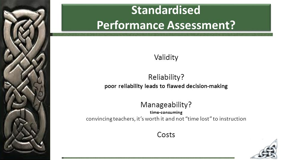 Standardised Performance Assessment. Validity Reliability.