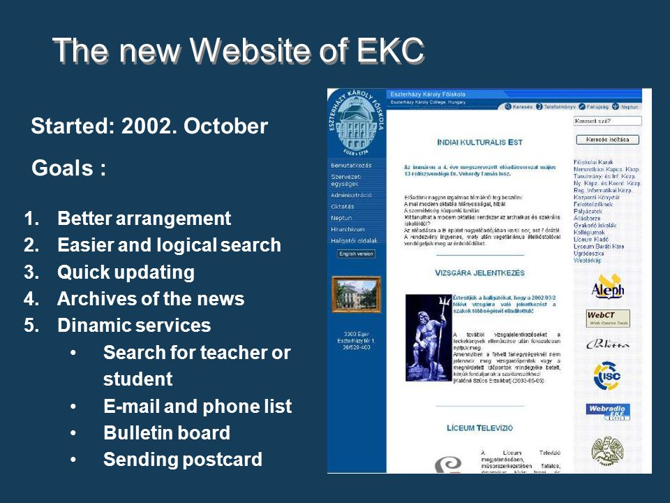 The new Website of EKC 1.Better arrangement 2.Easier and logical search 3.Quick updating 4.Archives of the news 5.Dinamic services Search for teacher or student E-mail and phone list Bulletin board Sending postcard Started: 2002.