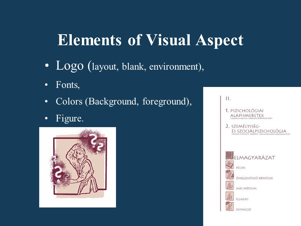 Elements of Visual Aspect Logo ( layout, blank, environment), Fonts, Colors (Background, foreground), Figure.