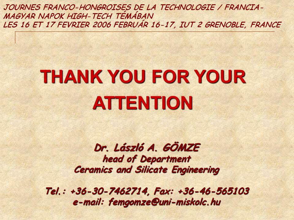 THANK YOU FOR YOUR ATTENTION JOURNES FRANCO-HONGROISES DE LA TECHNOLOGIE / FRANCIA- MAGYAR NAPOK HIGH-TECH TÉMÁBAN LES 16 ET 17 FEVRIER 2006 FEBRUÁR 1