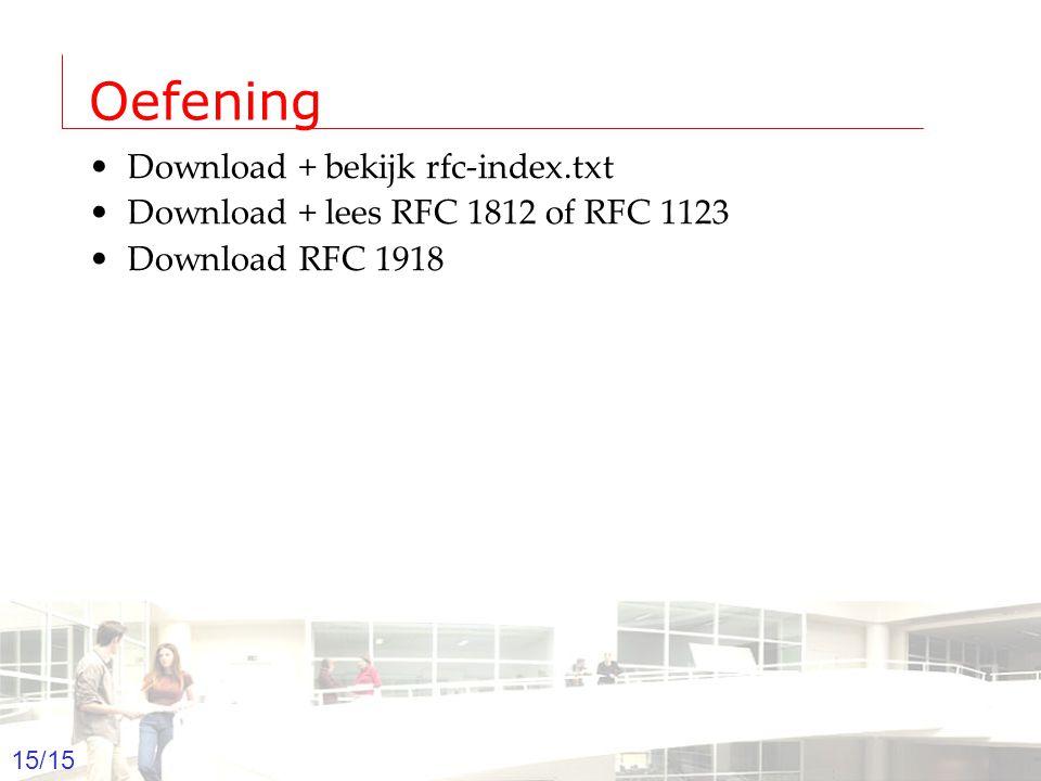 2003-2004 - Information management 15 Groep T Leuven – Information department 15/15 Oefening Download + bekijk rfc-index.txt Download + lees RFC 1812 of RFC 1123 Download RFC 1918