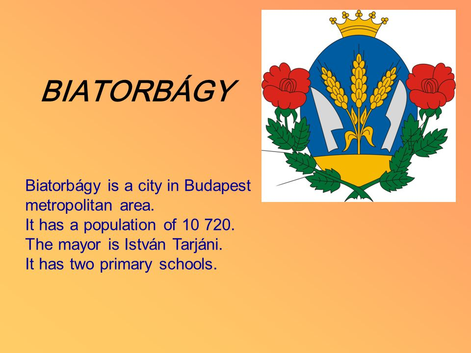 BIATORBÁGY Biatorbágy is a city in Budapest metropolitan area. It has a population of 10 720. The mayor is István Tarjáni. It has two primary schools.