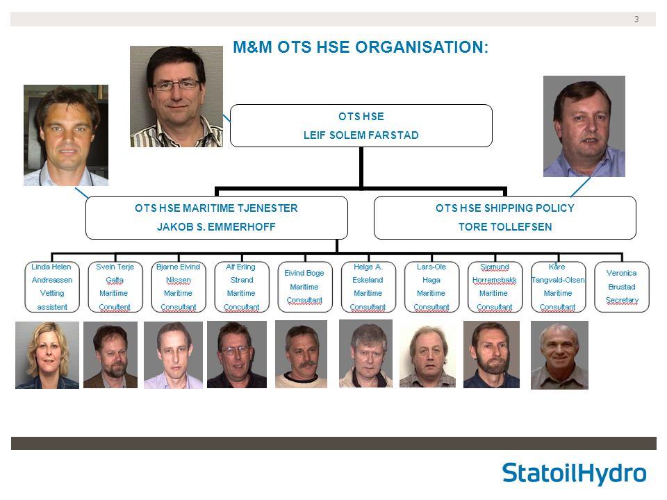 3 OTS HSE LEIF SOLEM FARSTAD OTS HSE MARITIME TJENESTER JAKOB S. EMMERHOFF OTS HSE SHIPPING POLICY TORE TOLLEFSEN M&M OTS HSE ORGANISATION: