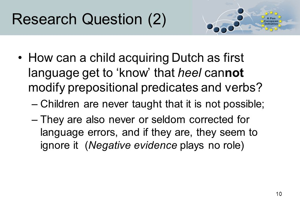 10 Research Question (2) How can a child acquiring Dutch as first language get to 'know' that heel cannot modify prepositional predicates and verbs.