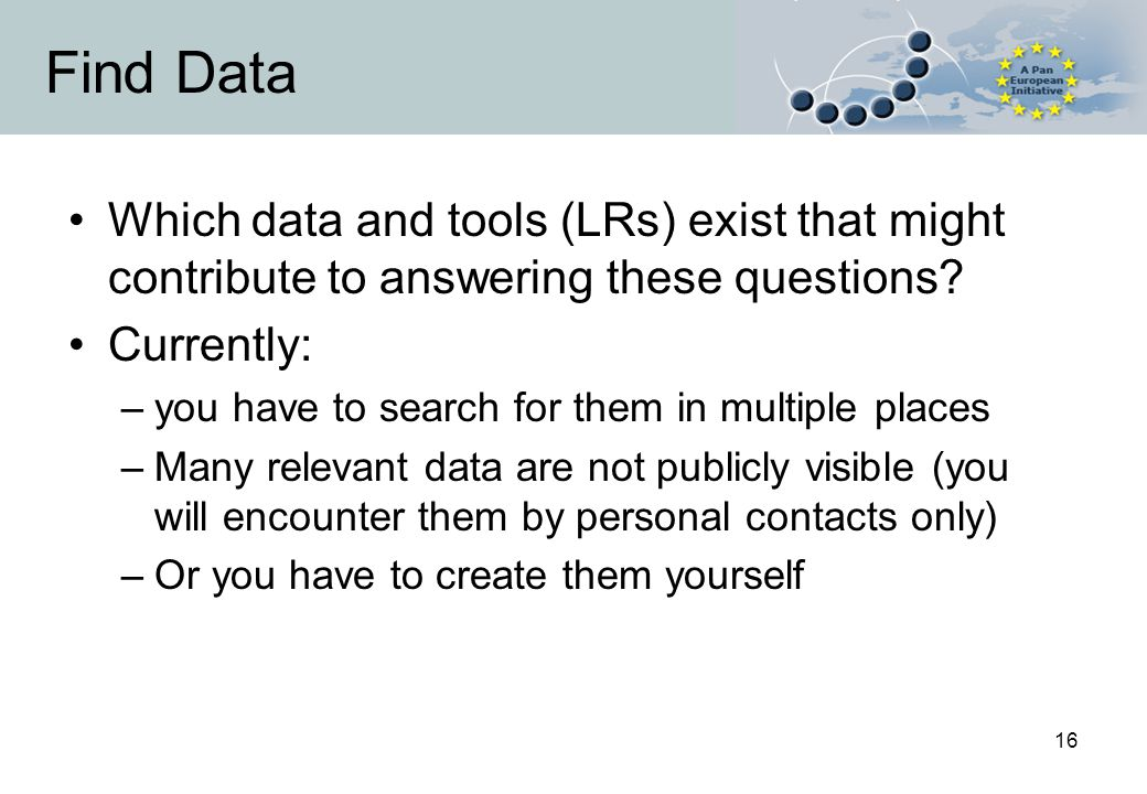 16 Find Data Which data and tools (LRs) exist that might contribute to answering these questions.