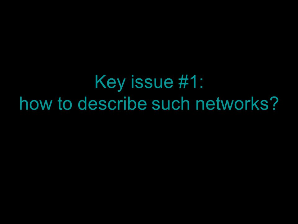 Key issue #1: how to describe such networks