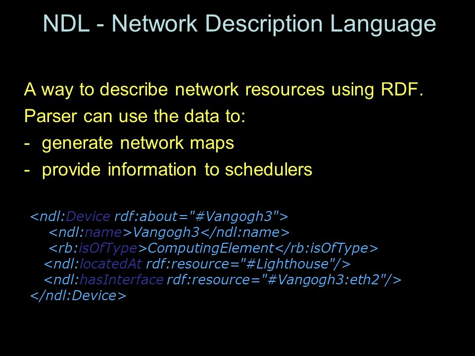 NDL - Network Description Language A way to describe network resources using RDF.