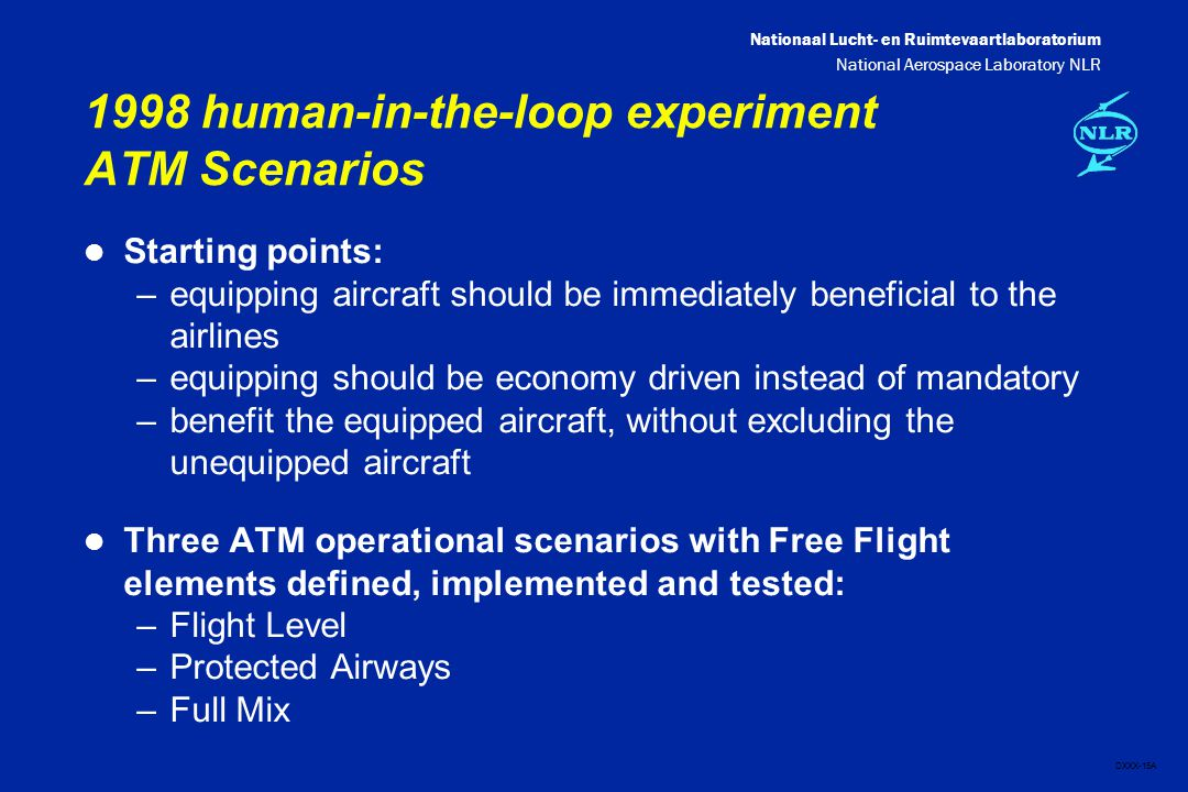 Nationaal Lucht- en Ruimtevaartlaboratorium National Aerospace Laboratory NLR DXXX-15A 1998 human-in-the-loop experiment ATM Scenarios l Starting points: –equipping aircraft should be immediately beneficial to the airlines –equipping should be economy driven instead of mandatory –benefit the equipped aircraft, without excluding the unequipped aircraft l Three ATM operational scenarios with Free Flight elements defined, implemented and tested: –Flight Level –Protected Airways –Full Mix