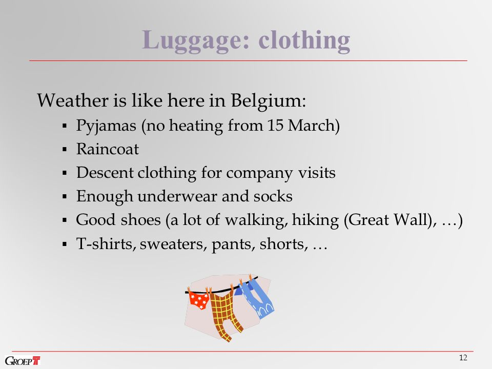 Weather is like here in Belgium:  Pyjamas (no heating from 15 March)  Raincoat  Descent clothing for company visits  Enough underwear and socks  Good shoes (a lot of walking, hiking (Great Wall), …)  T-shirts, sweaters, pants, shorts, … 12 Luggage: clothing