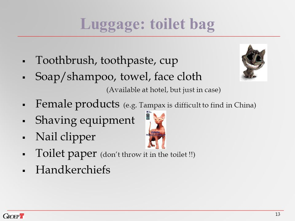 Toothbrush, toothpaste, cup  Soap/shampoo, towel, face cloth (Available at hotel, but just in case)  Female products (e.g.