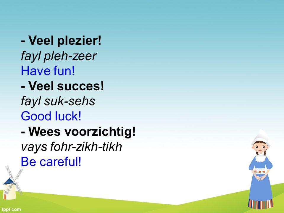 - Veel plezier! fayl pleh-zeer Have fun! - Veel succes! fayl suk-sehs Good luck! - Wees voorzichtig! vays fohr-zikh-tikh Be careful!