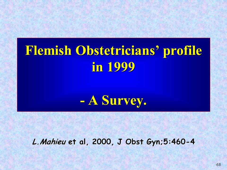 68 Flemish Obstetricians' profile in 1999 - A Survey. L.Mahieu et al, 2000, J Obst Gyn;5:460-4