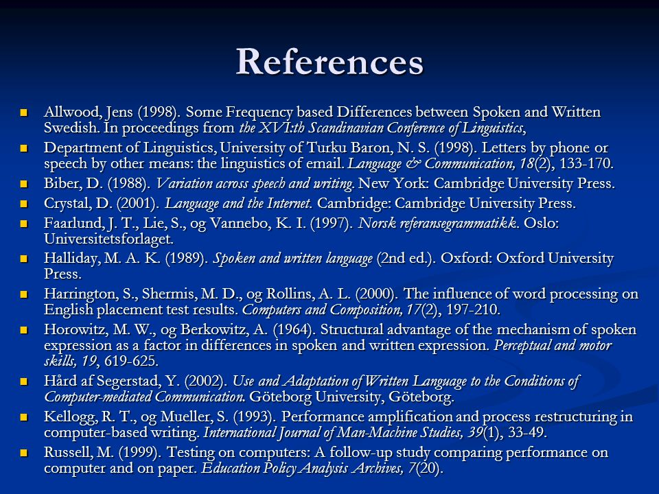 References  Allwood, Jens (1998).