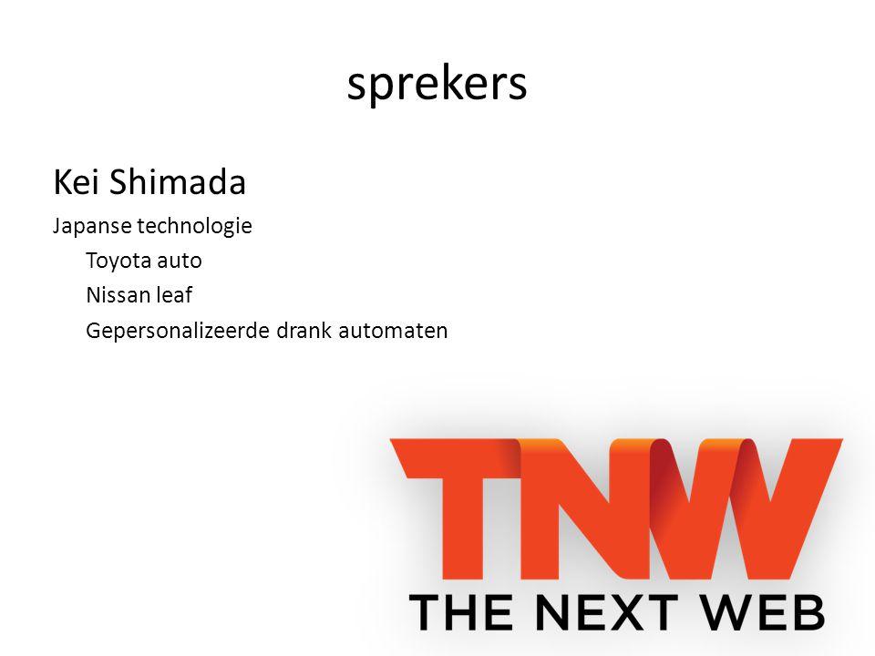 sprekers Kei Shimada Japanse technologie Toyota auto Nissan leaf Gepersonalizeerde drank automaten