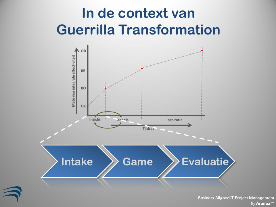 Business Aligned IT Project Management By Aranea ™ In de context van Guerrilla Transformation Evaluatie