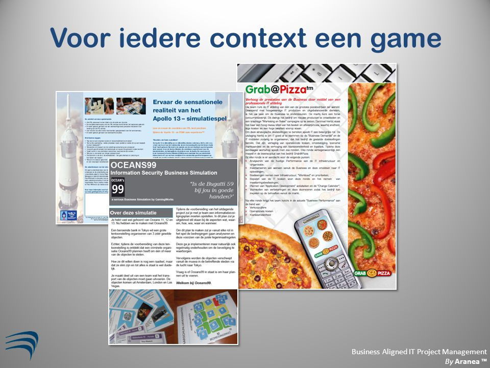 Business Aligned IT Project Management By Aranea ™ Voor iedere context een game