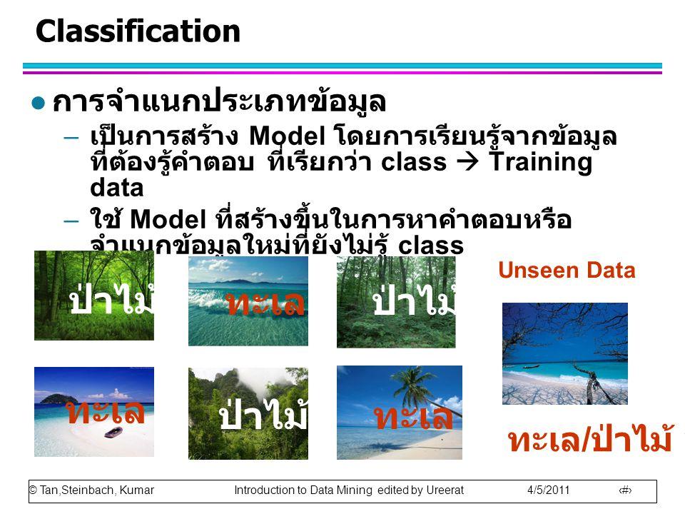 © Tan,Steinbach, Kumar Introduction to Data Mining edited by Ureerat 4/5/2011 19 Classification l การจำแนกประเภทข้อมูล – เป็นการสร้าง Model โดยการเรียนรู้จากข้อมูล ที่ต้องรู้คำตอบ ที่เรียกว่า class  Training data – ใช้ Model ที่สร้างขึ้นในการหาคำตอบหรือ จำแนกข้อมูลใหม่ที่ยังไม่รู้ class ป่าไม้ ทะเล ทะเล / ป่าไม้ .