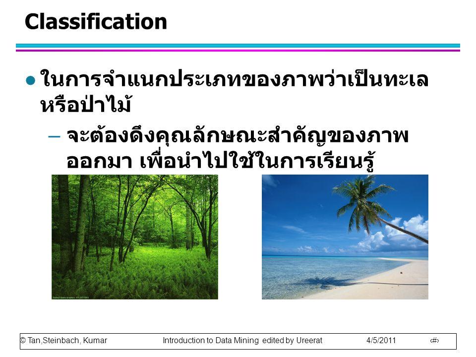 © Tan,Steinbach, Kumar Introduction to Data Mining edited by Ureerat 4/5/2011 20 Classification l ในการจำแนกประเภทของภาพว่าเป็นทะเล หรือป่าไม้ – จะต้องดึงคุณลักษณะสำคัญของภาพ ออกมา เพื่อนำไปใช้ในการเรียนรู้
