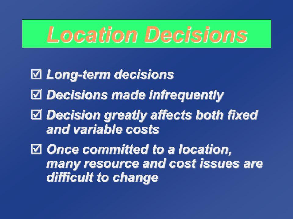 Factors in Warehouse Location Transportation costs Transportation costs Proximity to markets Proximity to markets