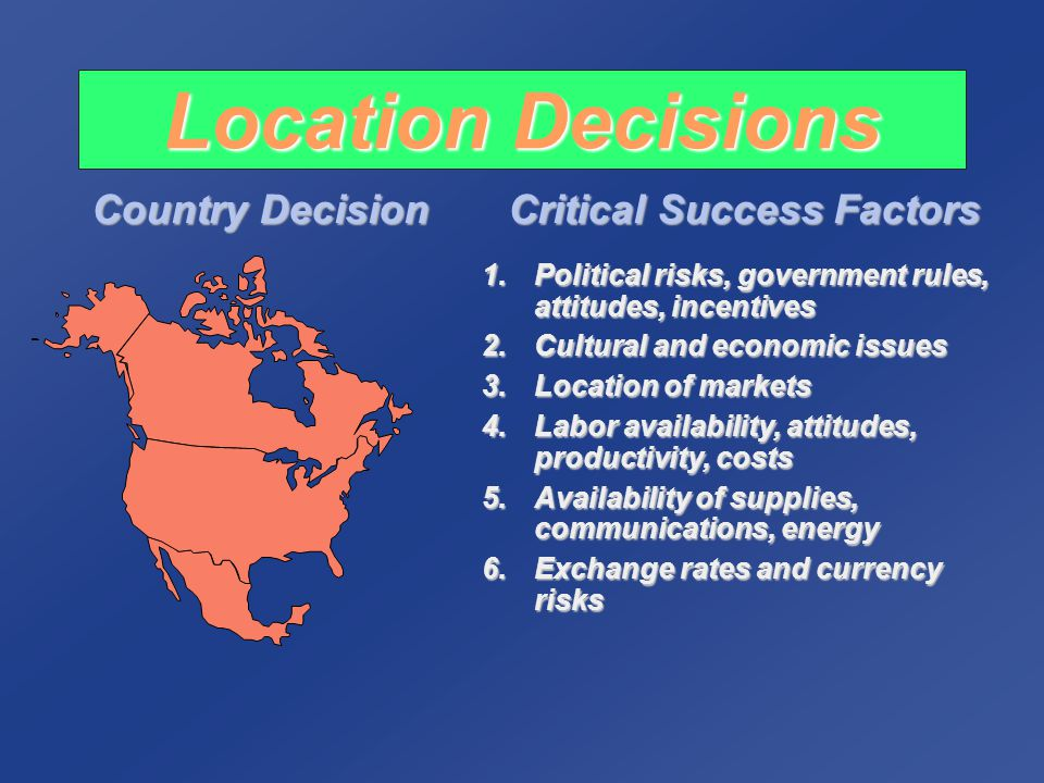 Location Decisions Region/ Community Decision Critical Success Factors 1.Corporate desires 2.Attractiveness of region 3.Labor availability, costs, attitudes towards unions 4.Costs and availability of utilities 5.Environmental regulations 6.Government incentives and fiscal policies 7.Proximity to raw materials and customers 8.Land/construction costs MN WI MI IL IN OH
