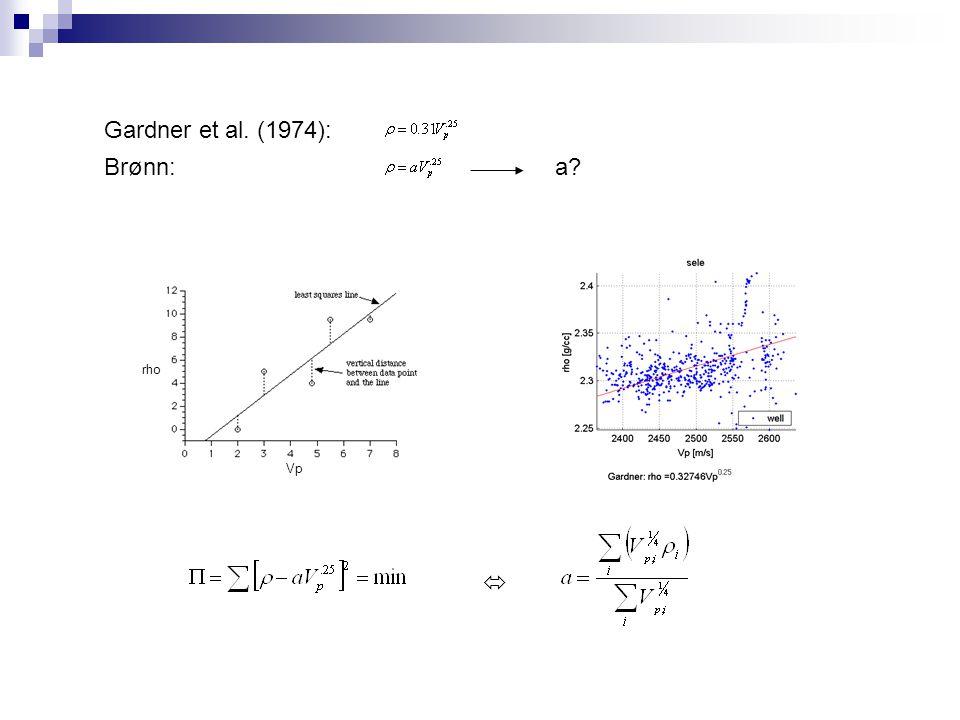 Gardner et al. (1974): Brønn: a? Vp rho 