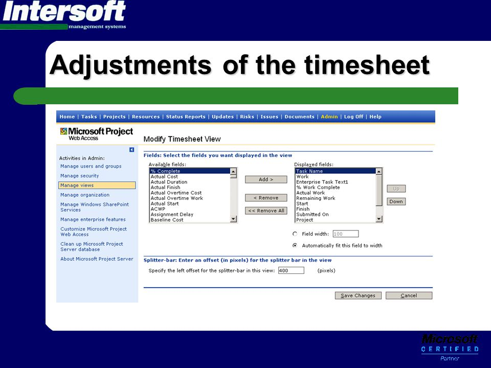 Adjustments of the timesheet