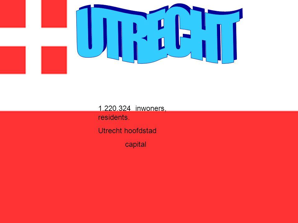 1.220.324 inwoners, residents. Utrecht hoofdstad capital