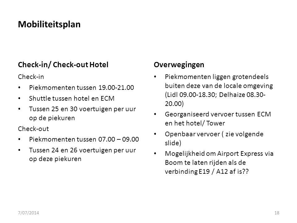 Mobiliteitsplan Check-in/ Check-out Hotel Check-in Piekmomenten tussen 19.00-21.00 Shuttle tussen hotel en ECM Tussen 25 en 30 voertuigen per uur op de piekuren Check-out Piekmomenten tussen 07.00 – 09.00 Tussen 24 en 26 voertuigen per uur op deze piekuren Overwegingen Piekmomenten liggen grotendeels buiten deze van de locale omgeving (Lidl 09.00-18.30; Delhaize 08.30- 20.00) Georganiseerd vervoer tussen ECM en het hotel/ Tower Openbaar vervoer ( zie volgende slide) Mogelijkheid om Airport Express via Boom te laten rijden als de verbinding E19 / A12 af is?.