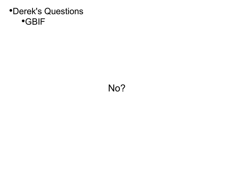 • Derek's Questions • GBIF No?