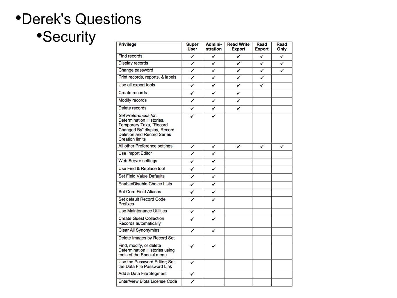 • Derek s Questions • Security