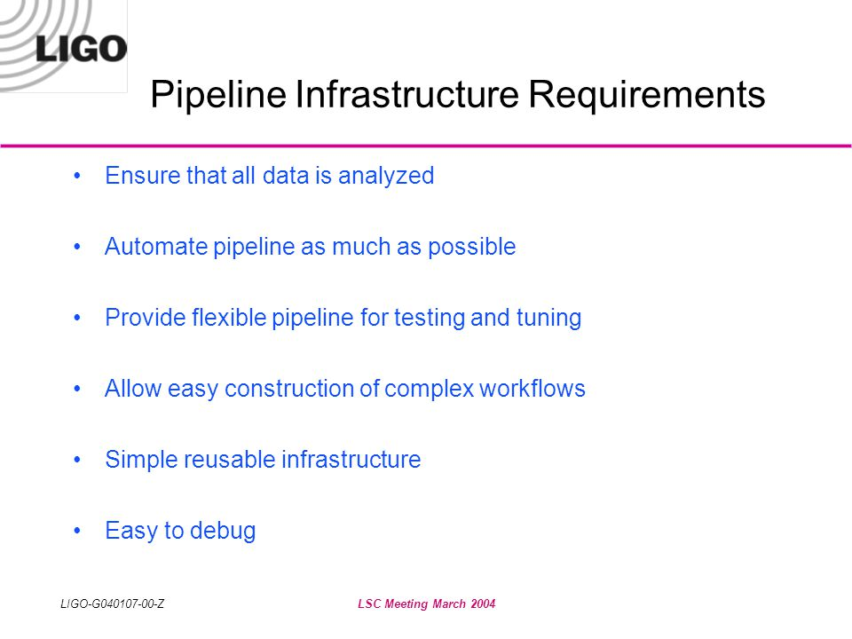 LIGO-G040107-00-ZLSC Meeting March 2004 Pipeline Infrastructure Requirements •Ensure that all data is analyzed •Automate pipeline as much as possible •Provide flexible pipeline for testing and tuning •Allow easy construction of complex workflows •Simple reusable infrastructure •Easy to debug