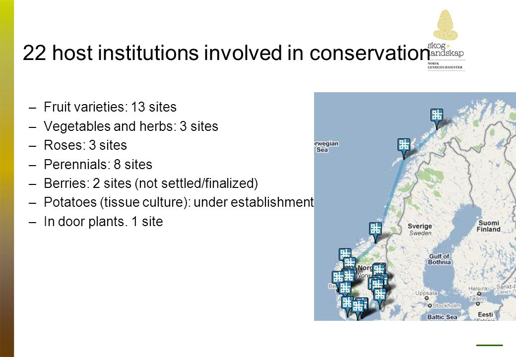 22 host institutions involved in conservation –Fruit varieties: 13 sites –Vegetables and herbs: 3 sites –Roses: 3 sites –Perennials: 8 sites –Berries: