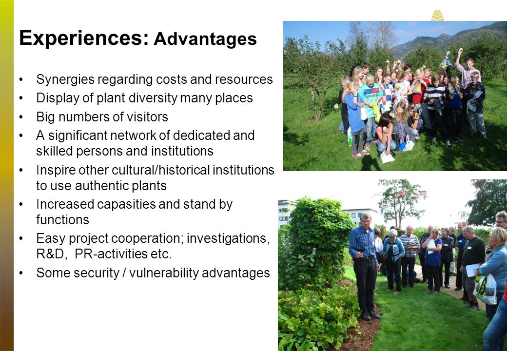 Experiences: Advantages •Synergies regarding costs and resources •Display of plant diversity many places •Big numbers of visitors •A significant network of dedicated and skilled persons and institutions •Inspire other cultural/historical institutions to use authentic plants •Increased capasities and stand by functions •Easy project cooperation; investigations, R&D, PR-activities etc.