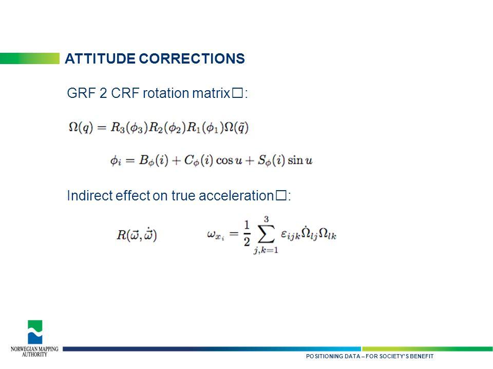 KARTDATA TIL NYTTE FOR SAMFUNNET ATTITUDE CORRECTIONS POSITIONING DATA – FOR SOCIETY'S BENEFIT GRF 2 CRF rotation matrix: Indirect effect on true acceleration: :