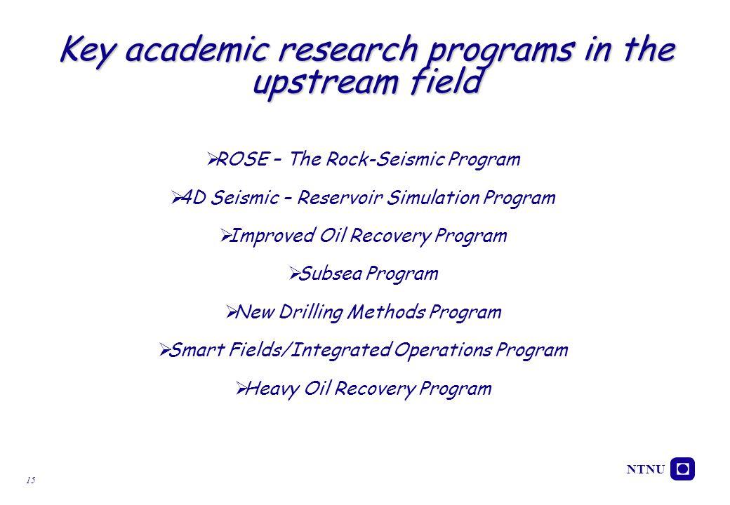 NTNU 15 Key academic research programs in the upstream field  ROSE – The Rock-Seismic Program  4D Seismic – Reservoir Simulation Program  Improved