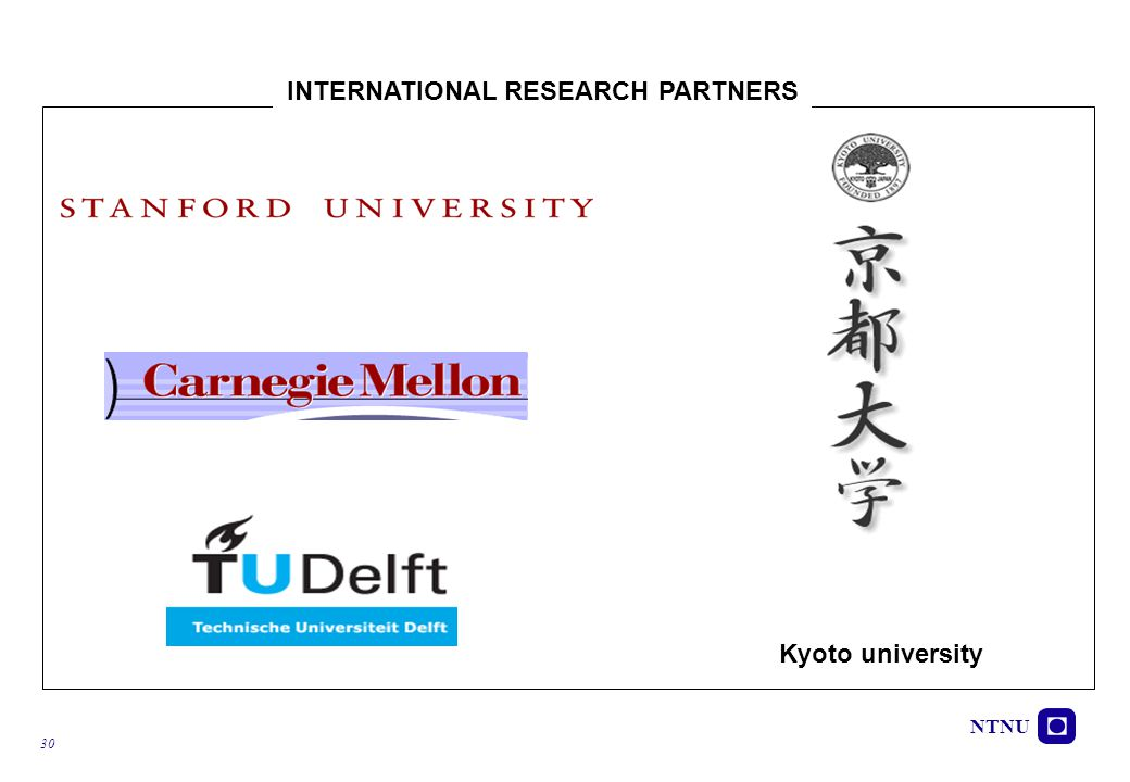 NTNU 30 Kyoto university INTERNATIONAL RESEARCH PARTNERS
