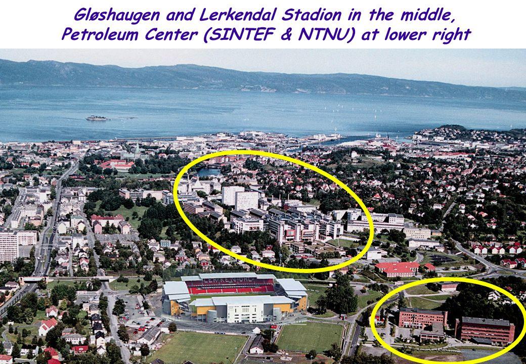 NTNU 7 Gløshaugen and Lerkendal Stadion in the middle, Petroleum Center (SINTEF & NTNU) at lower right