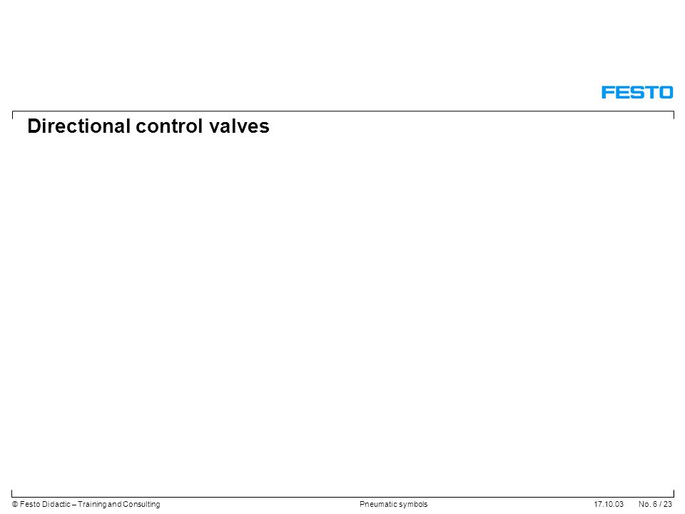 17.10.03 No. 6 / 23© Festo Didactic – Training and ConsultingPneumatic symbols Directional control valves
