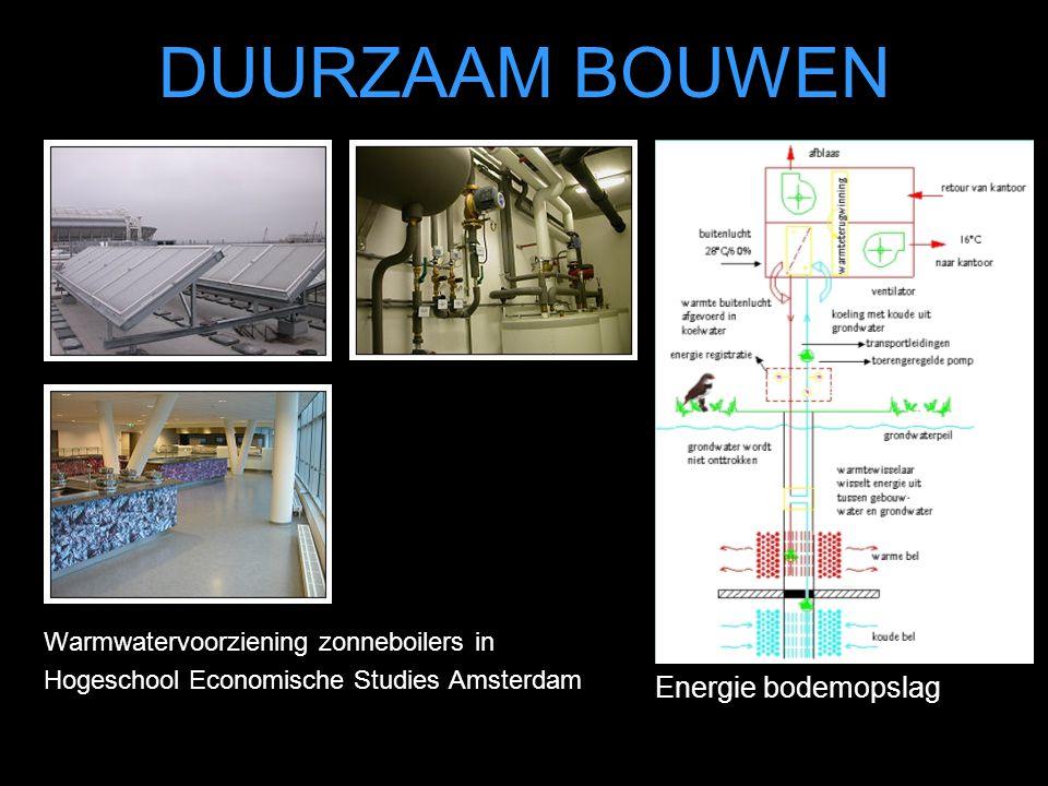 DUURZAAM BOUWEN Warmwatervoorziening zonneboilers in Hogeschool Economische Studies Amsterdam Energie bodemopslag
