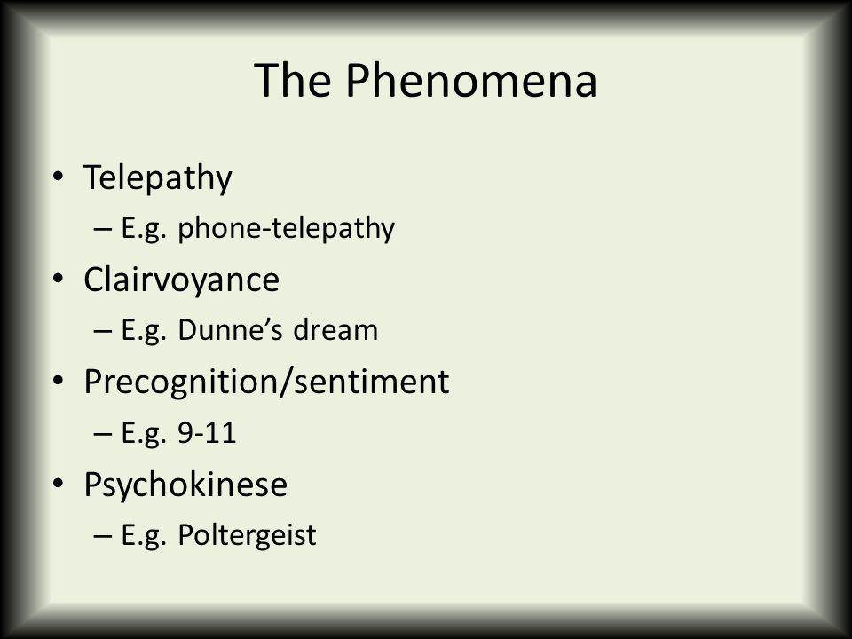 The Phenomena Telepathy – E.g. phone-telepathy Clairvoyance – E.g.
