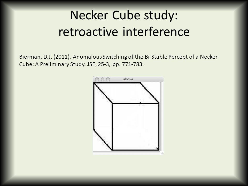 Necker Cube study: retroactive interference Bierman, D.J.