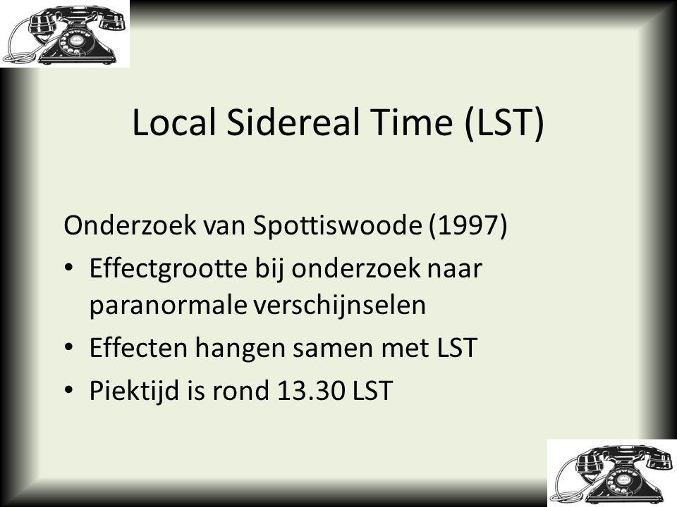 Onderzoek van Spottiswoode (1997) Effectgrootte bij onderzoek naar paranormale verschijnselen Effecten hangen samen met LST Piektijd is rond 13.30 LST