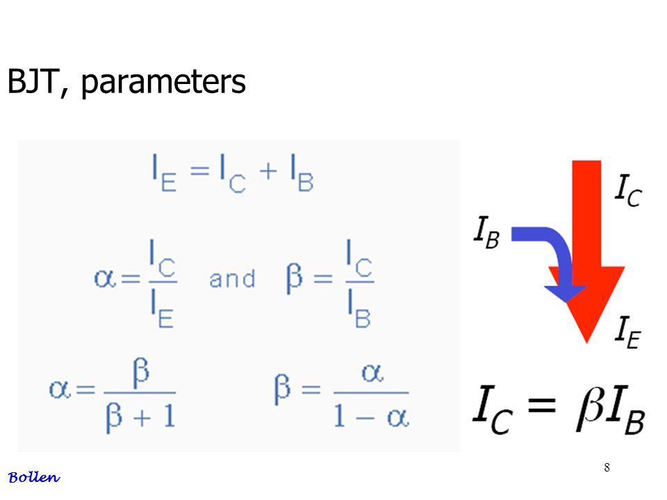 29 BJT, base bias example Bollen I b = 33 uA, I c = 2,9 mA U Rc = 7,9 V, U c = 8,1 V R b = 282,5 kΩ, I c = 3,2 mA, R c = 1,855 kΩ